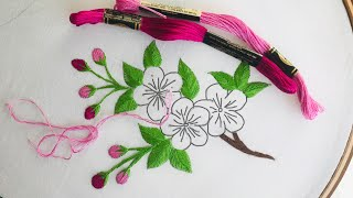 Hand Embroidery: Cherry Blossom Flower Embroidery / Japanese Embroidery / Flower Embroidery