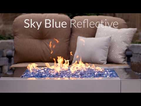 Sky Blue Reflective Fire Glass | Lakeview Outdoor Designs