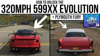 Forza Horizon 4 - How to unlock the 320MPH Ferrari 599XX Evo & Plymouth Fury and 4 Super Wheelspins