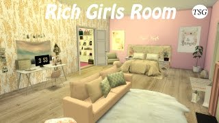 The Sims 4 | Rich Girls Room - CC Speed Build