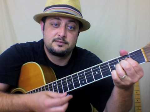 Beginner acoustic guitar lesson on strumming chords rhythms