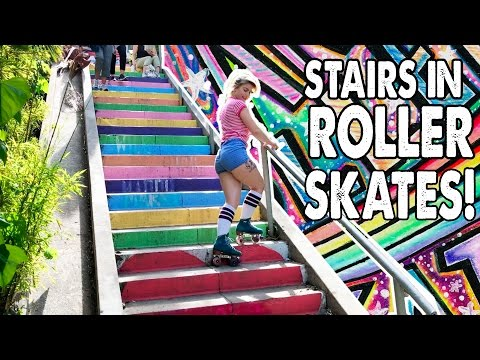 HOW TO GO UP AND DOWN STAIRS IN ROLLER SKATES! – Planet Roller Skate Ep. 6