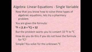 Pharmacy Technician Math Review: Basic Algebra 2