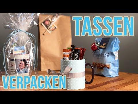 Tasse einpacken I Rundes Geschenk verpacken