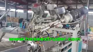 preview picture of video 'lock stitch PVC braided hose extrusion machine line weifang jingda plastic machinery'