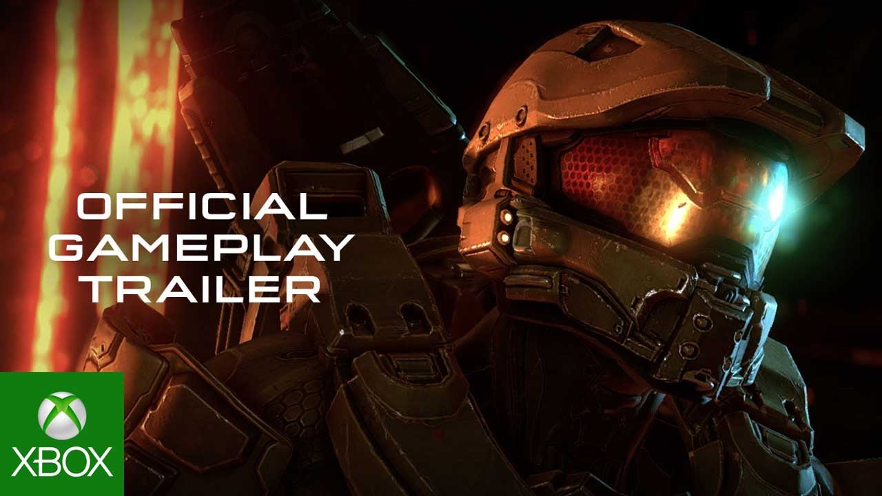 Halo 5 Launch Official Gameplay Trailer, Front view of spartan head and shoulder in battle gear