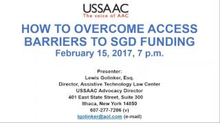 How to overcome access barriers to SGD Funding (February 15 2017)
