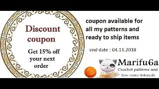 15% off coupon available for all my patterns and ready to ship items