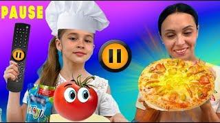 ПАУЗА ПИЦЦА ЧЕЛЛЕНДЖ Арина Чуть Не испортила пиццу Смешное видео