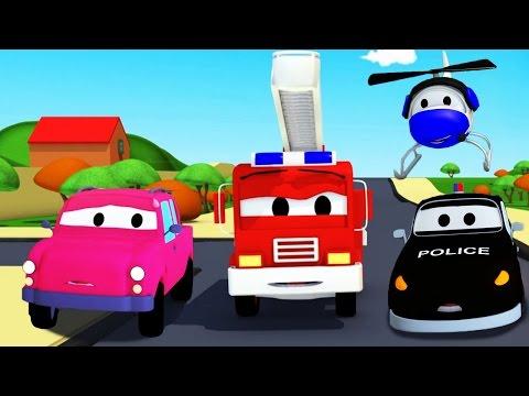Der Streifenwagen: Der verschollene Pickup Truck in Autopolis/ Autos und Lastwagen Bau-Cartoon-Serie