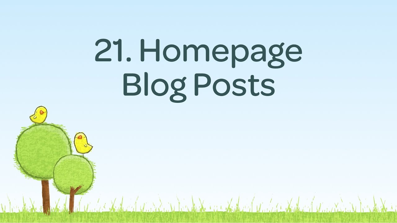 Showing blog posts on the homepage