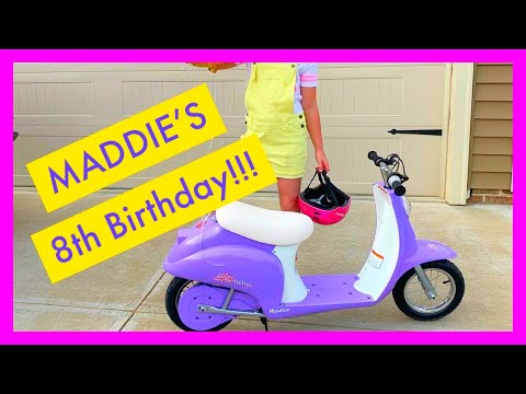 MADDIE'S 8TH BIRTHDAY!! RAZOR POCKET MOD EURO STYLE ELECTRIC SCOOTER!