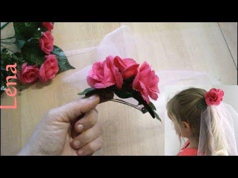 Kreative Tipps von Lena - Flower Hair Veil - Blumen Spangen Schleier DIY