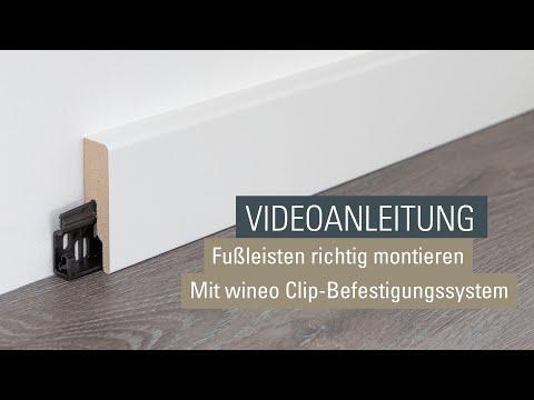 Fußleisten und Sockelleisten befestigen | Montage mit wineo Clip Befestigung