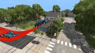 BeamNG Drive Record - Stunt - Long Jump by Car 492 Feet 166 Meters