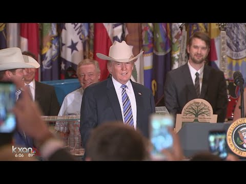 President Trump tries on Stetson hat as part of 'Made in America' week