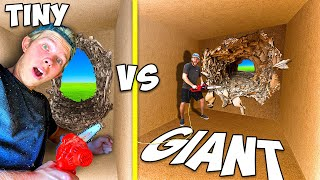 Escaping Tiny vs GIANT 100 Layers of Cardboard! *TRAPPED*