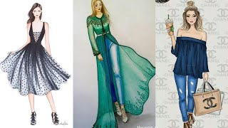 Best Sketch Fashion Illustration Dresses | Choose Yours | Fashion Girls | Trending Designs