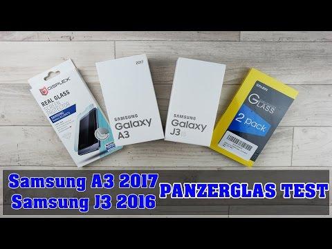 Panzerglas Folie für das Samsung Galaxy A3 2017 und J3 2016 / Deutsch Test