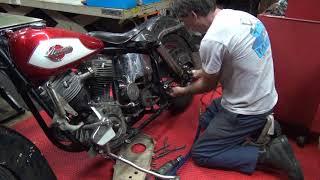 #111 1950 & 1959 panhead bike mock-up harley parts hunting at tatro machine shop tour