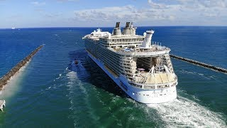 Royal Caribbean Cruise Ships Leaving Miami: Drone Video