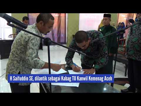 Kakanwil Lantik 3 Pejabat Eselon III Kemenag Aceh