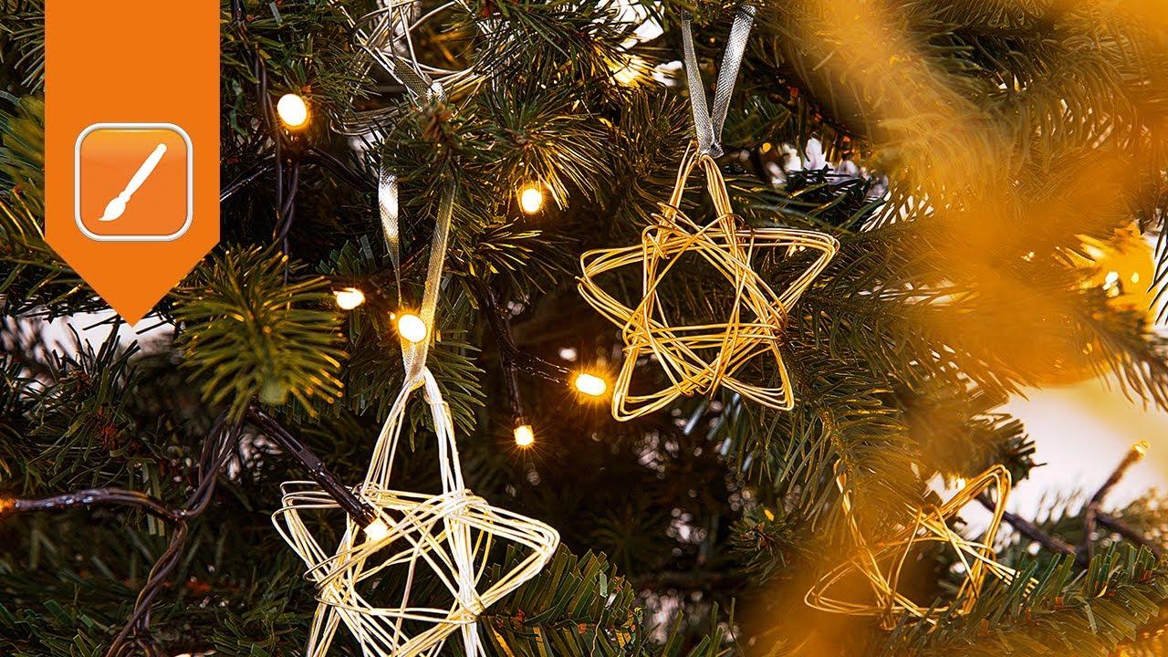 Weihnachtsdeko basteln drahtstern als weihnachtsbaumschmuck obi - Drahtsterne basteln ...