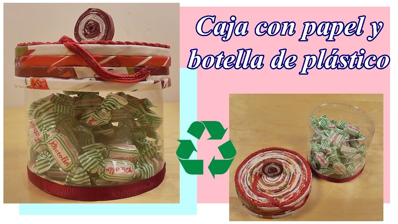 Caja para caramelos reciclando tubos de papel y una botella de plástico ♻