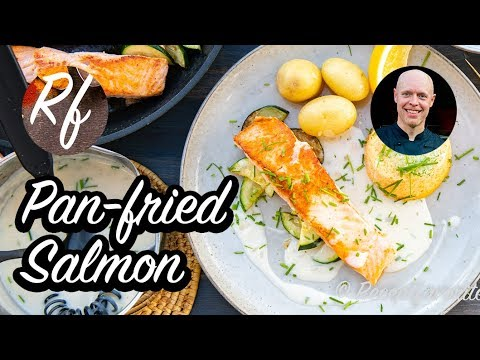 A basic recipe how to pan fry salmon in butter and oil. >