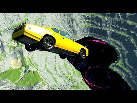 BeamNG Drive - Leap Of Death Car Jumps & Falls Into Giant Black Hole (*Jumping Into Black Hole*)