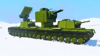 Кв-6 Атакует немецкого Монстра Мауса - Мультик игра про танки Brick Rigs