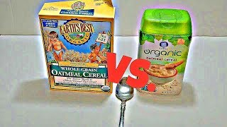 Gerber Baby Cereal Organic Oatmeal Vs. Earth's Best Certified Organic Whole Grain Oatmeal Cereal