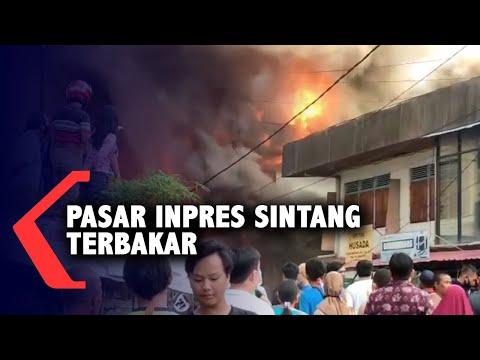 kebakaran di pasar inpres sintang hanguskan ruko