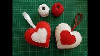 How To Make Christmas Felt Ornaments ? Felt Heart