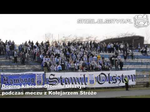 Doping kibiców Stomilu Olsztyn podczas meczu z Kolejarzem Stróże