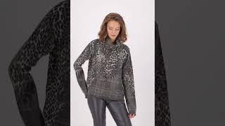 Vorschau: Karo Rollkragen Pullover mit Animal Details