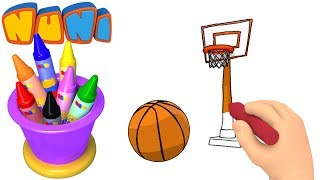 NuNi Art | Basketball drawing for kids| coloring videos