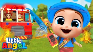 Firefighters To The Rescue! | Little Angel Kids Songs & Nursery Rhymes