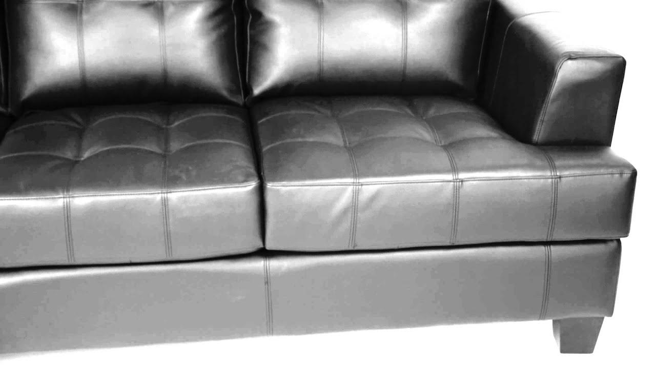 Samuel Black Leather Living Room Set 501681 From Coaster