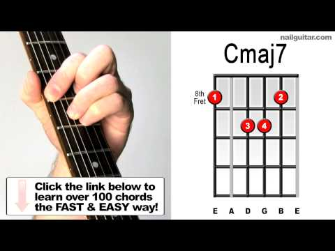 How to Play Cmaj7 - Essential Guitar Chord Shape for Jazz songs (root 6) Major 7th