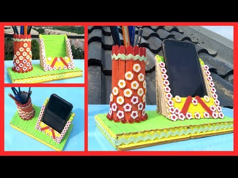 Diy Projects Popsicle Stick Craft Idea Mobile Holder Pen Stand