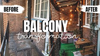 BALCONY MAKEOVER | SMALL RENTER FRIENDLY | SMALL TERRACE BUDGET TRANSFORMATION LONDON UK