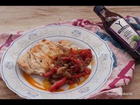 Pimientos al vinagre balsámico de módena con pechugas de pollo