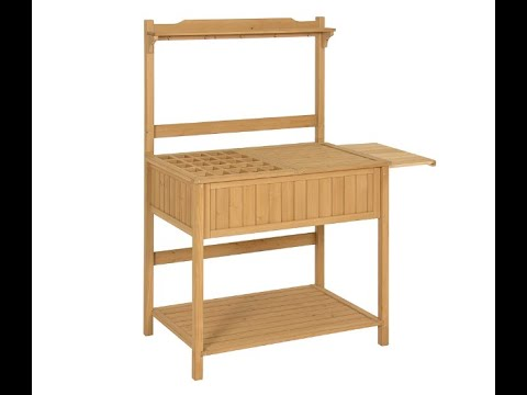 Best Choice Products Outdoor Garden Wooden Recessed Storage Potting Bench Work Station - Overview
