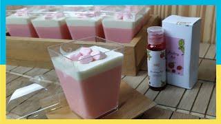 Cara Membuat Strawberry Cheese Pudding | Ide Snack Box / Arisan | Resep Puding Silky Lembut