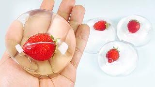 How To Make Edible Strawberry Raindrop Cake (水信玄餅)