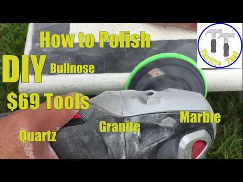 Video $69 DIY How to Polish a Quartz, Granite or Marble Countertop Bullnose or Square Edge profile.
