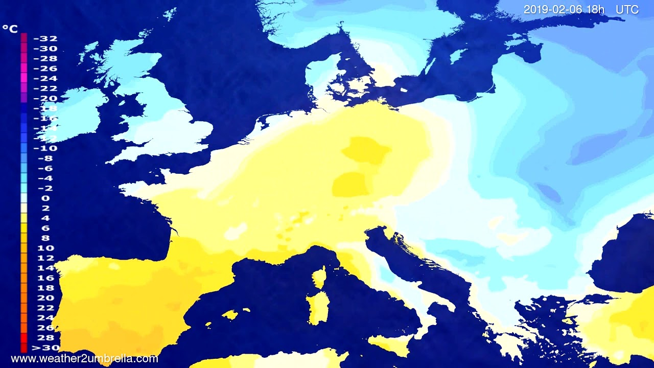 Temperature forecast Europe 2019-02-05