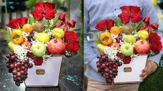Fruits Bouquet    How To Make A Fruits Bouquet With Flowers, Fruit Arrangement In A Box