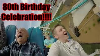 80 Year Old Rides Fury 325 for His Birthday! | Carowinds